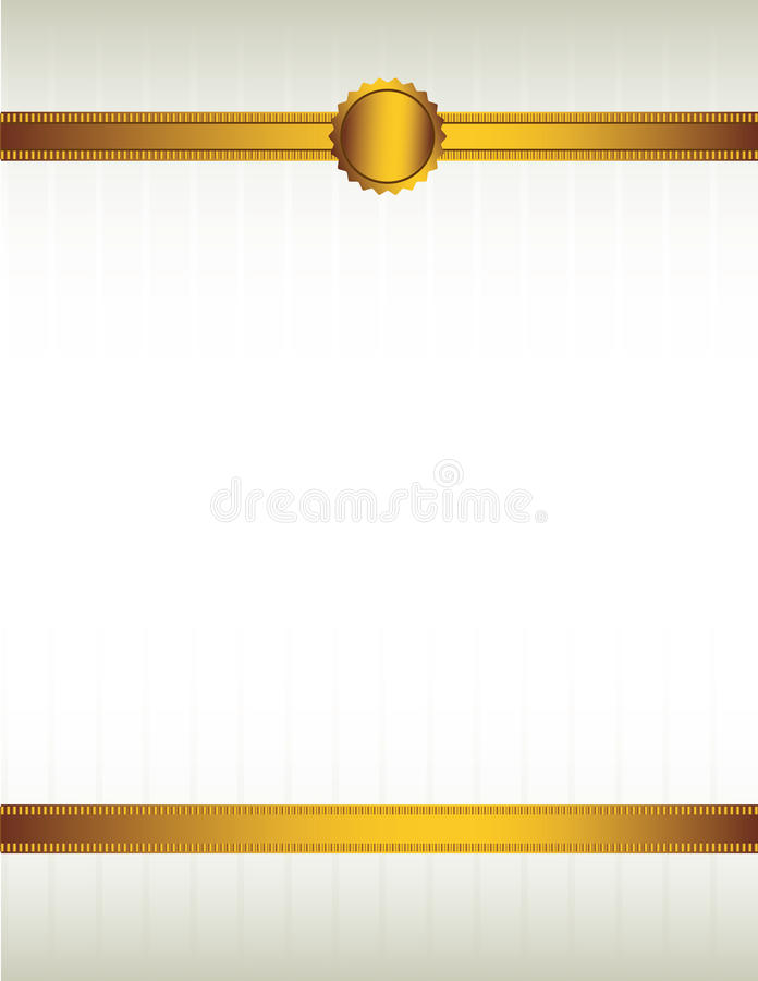 Gold ribbon and seal background 1 stock illustration