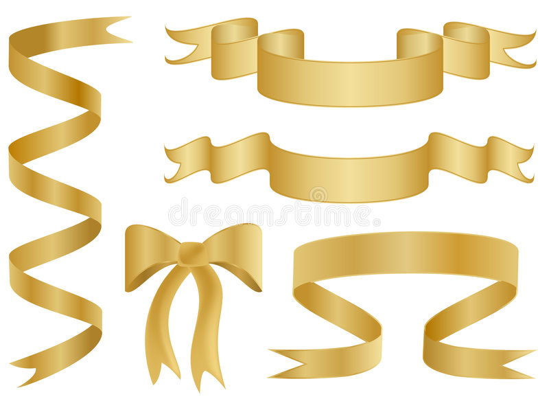 Download Gold Ribbons and Bows stock vector. Image of gold, decoration - 7714990