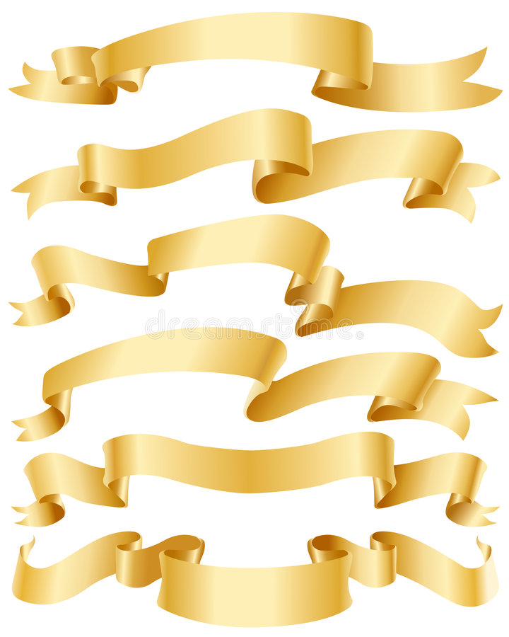 Gold ribbons set vector illustration