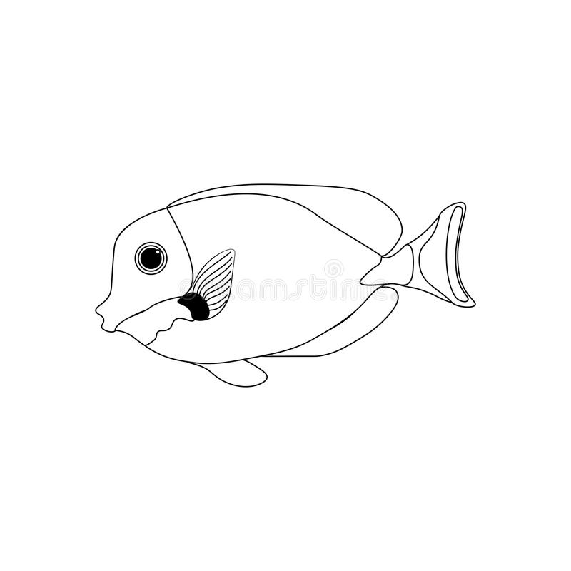 Gold-Rimmed Tang coloring pages. On the white background. Vector illustration royalty free illustration