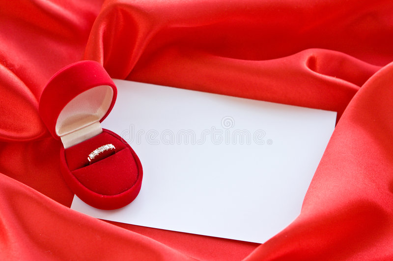 Gold ring in box stock photography