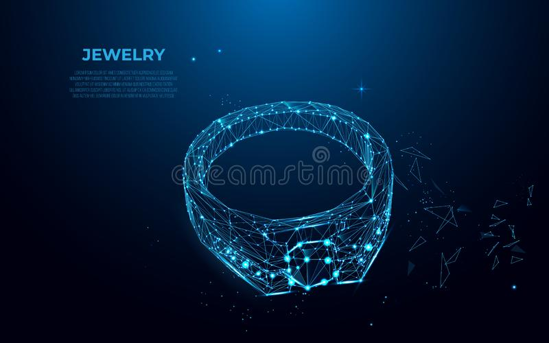 Gold ring with a diamond from particles, lines and triangles. Polygonal wireframe silhouette of jewelry. Gold ring with a diamond from particles, lines and stock illustration