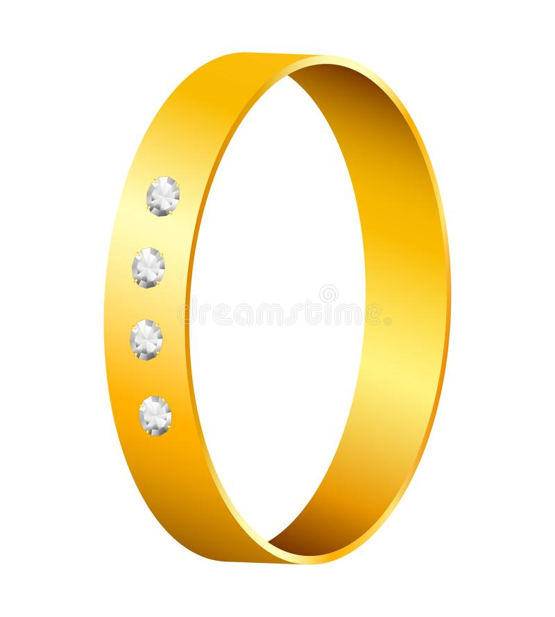 Gold ring with diamonds. Gold ring with brilliant diamonds. Elegant golden decoration element on white isolated background stock illustration