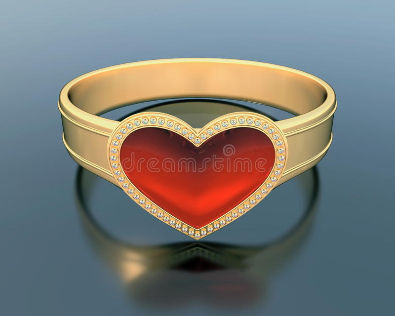 Gold ring with a heart shape ruby stock illustration