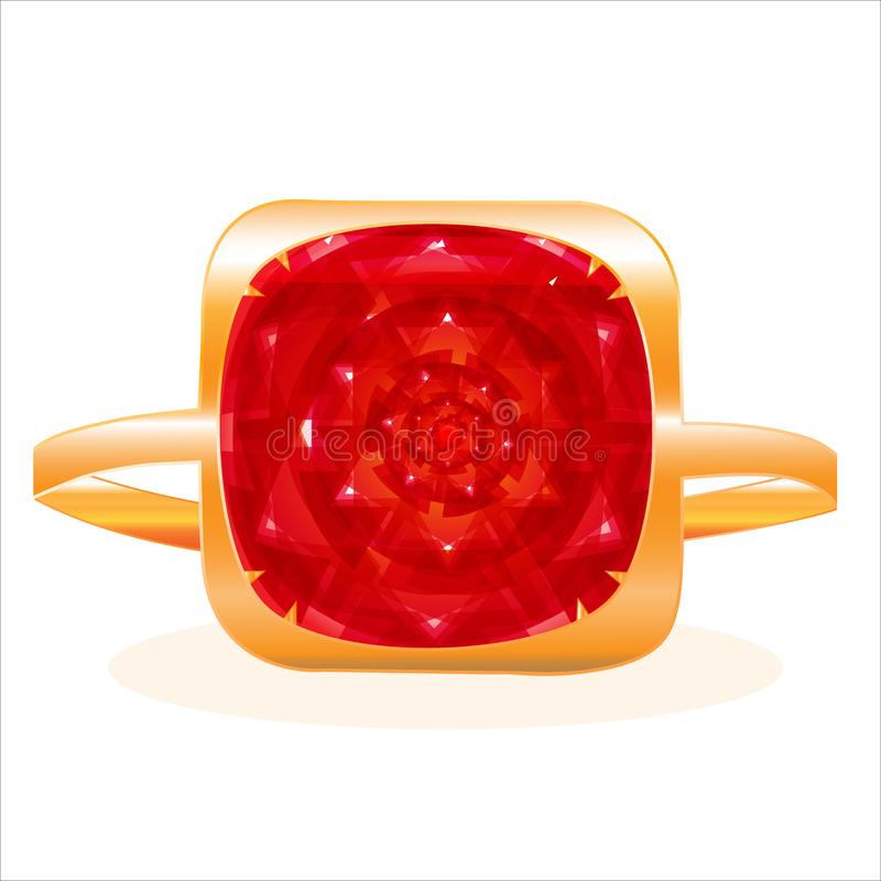 Gold ring with a large red ruby. Golden ring with a large red ruby royalty free illustration