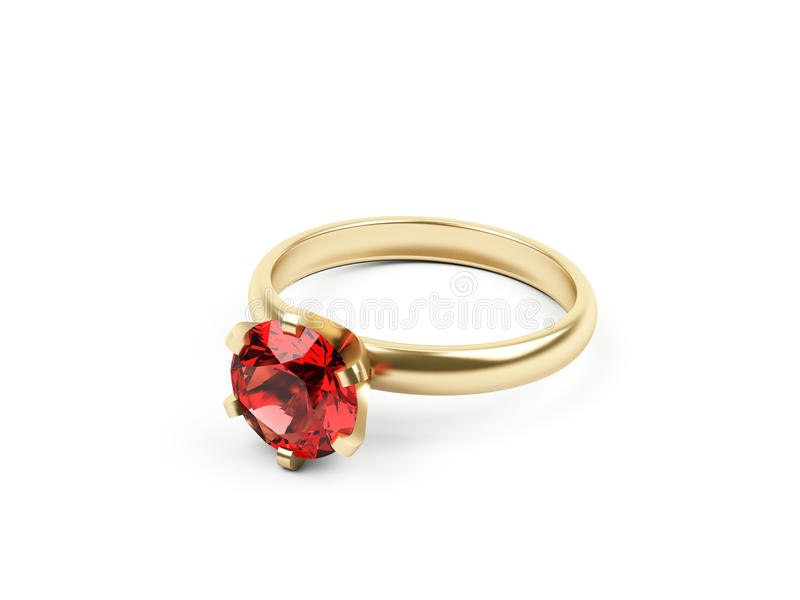 Gold ring with pink gemstone isolated on white. 3d rendering. stock illustration