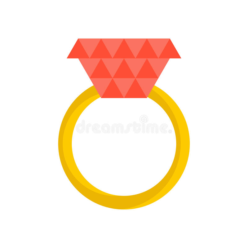 Gold ring with ruby isolated. Jewelry on white background.  royalty free illustration