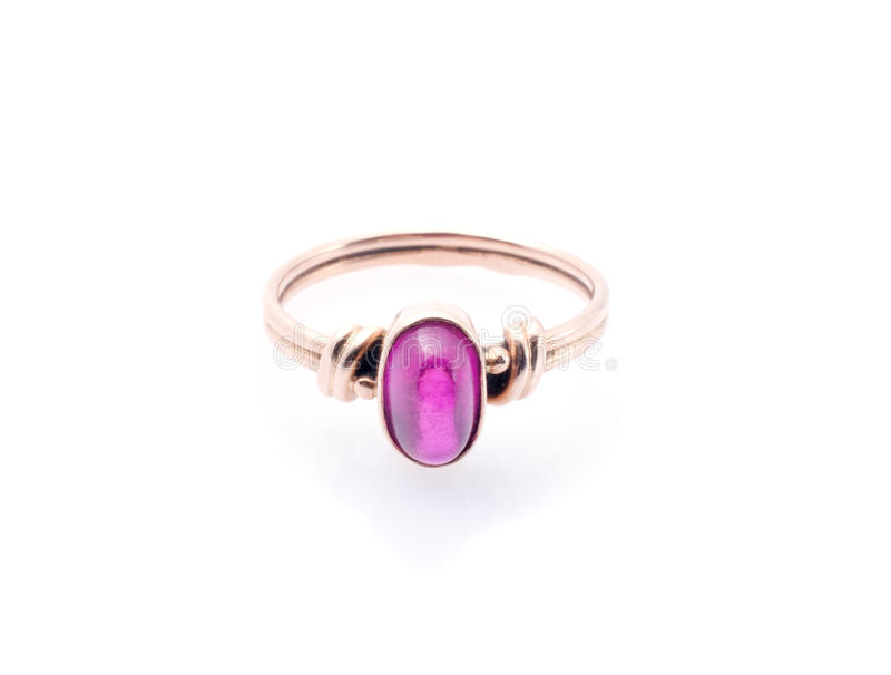 Gold ring with ruby royalty free stock photo