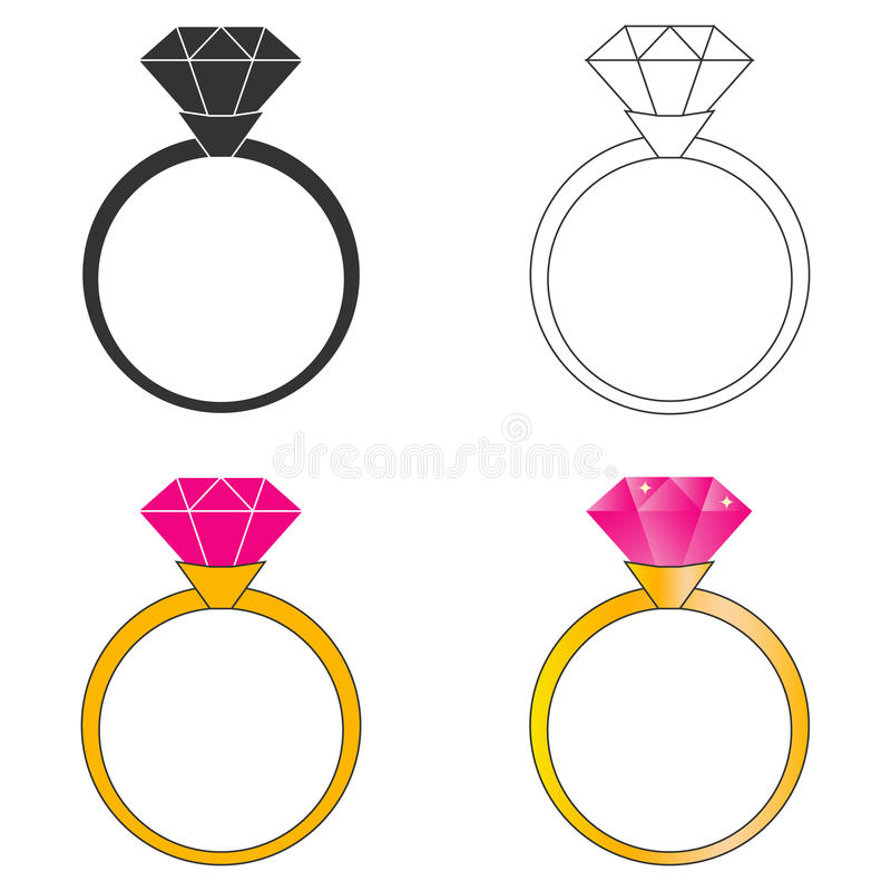 Gold ring with a ruby. Flat design, vector illustration, vector vector illustration