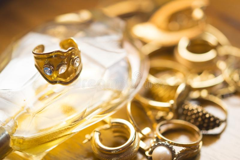 Family jewels with precious ring with stones royalty free stock images