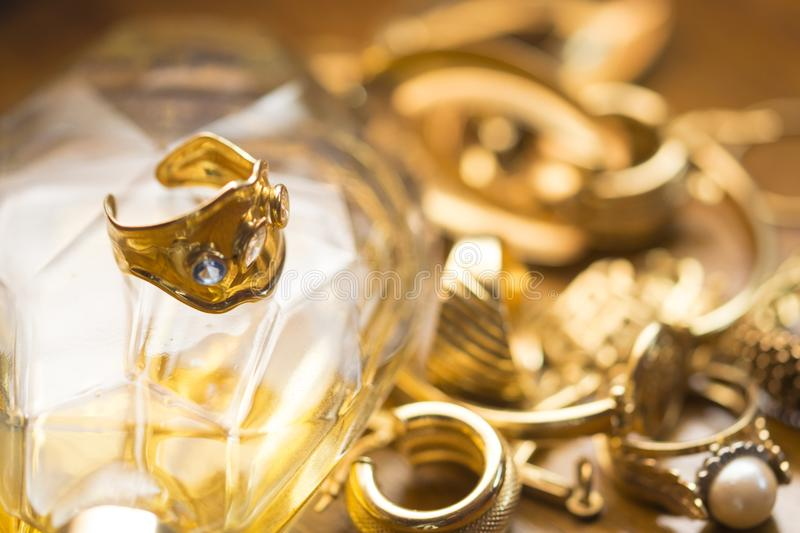 Family jewels with precious ring with stones stock images