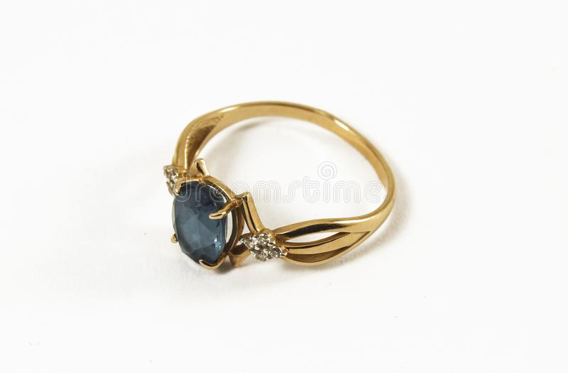 Gold ring with topaz stock photos