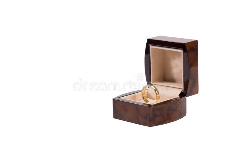 Gold ring on a white background stock image