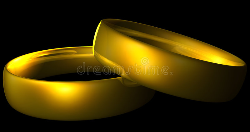 Gold rings. Two shiny gold rings isolated on black stock illustration