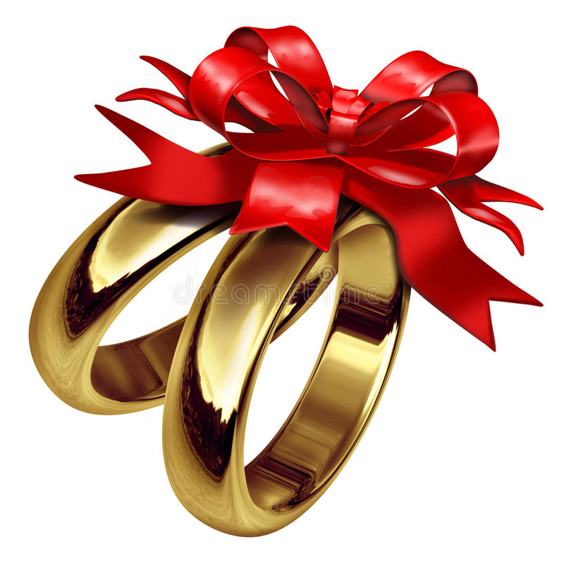 Download Gold Rings With Red Bow And Ribbon Stock Photos - Image: 18945913