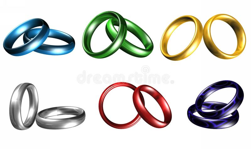 Gold rings. Gold silver wedding rings on a white background stock illustration