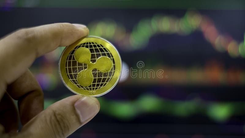 Cyptocurrency; digital money for new financial platform royalty free stock photography