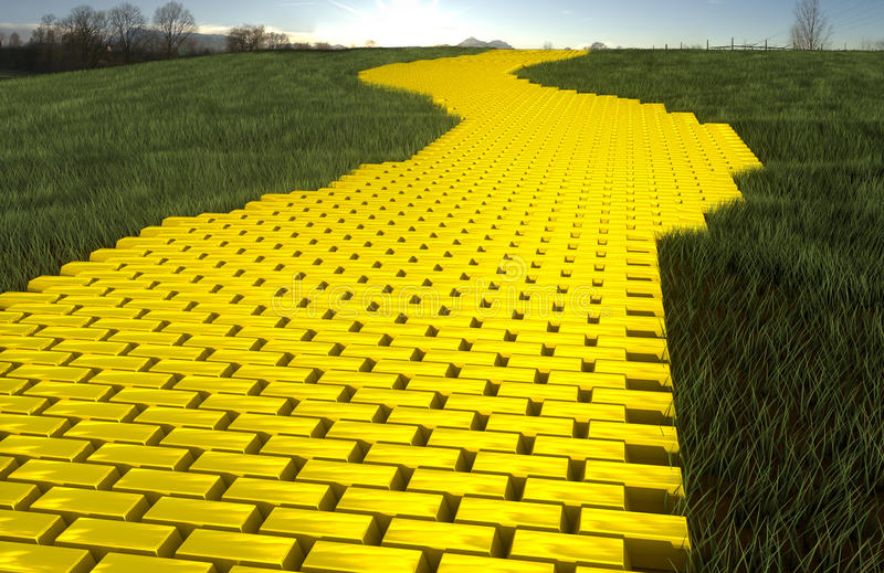 Gold road. Gold brick road and grass