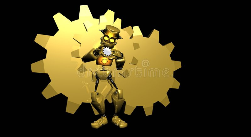 Gold robot royalty free illustration