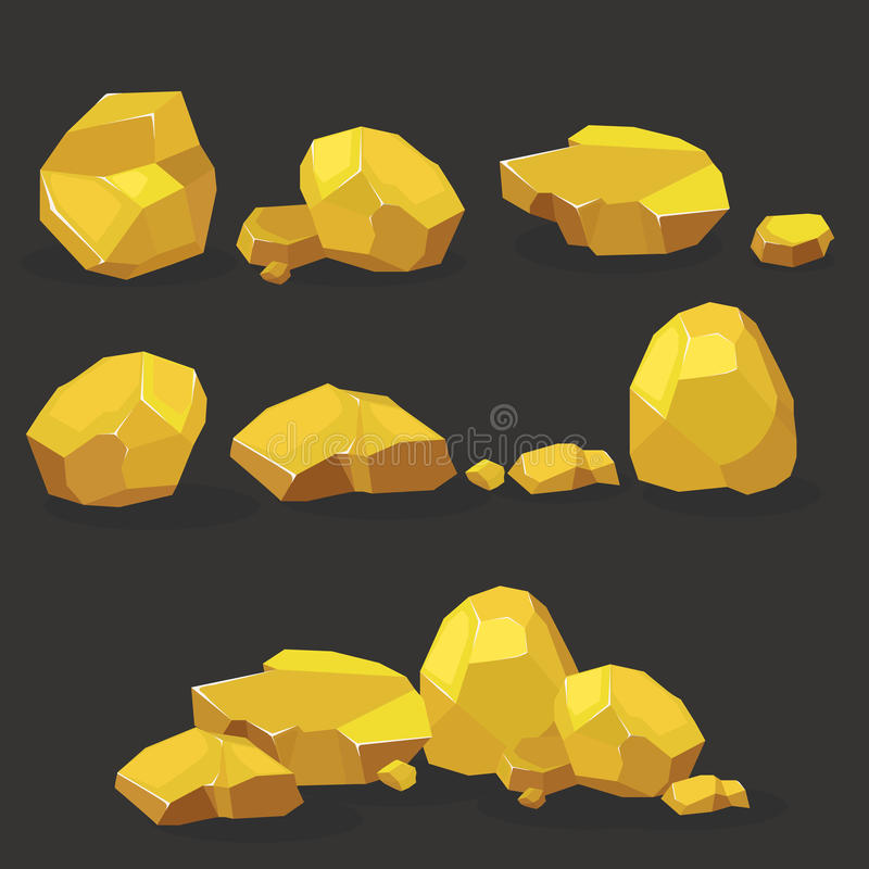Gold rock,nugget set. Stones single or piled for damage and rubble for game art architecture design. Gold rock,nugget set .Stones single or piled vector illustration