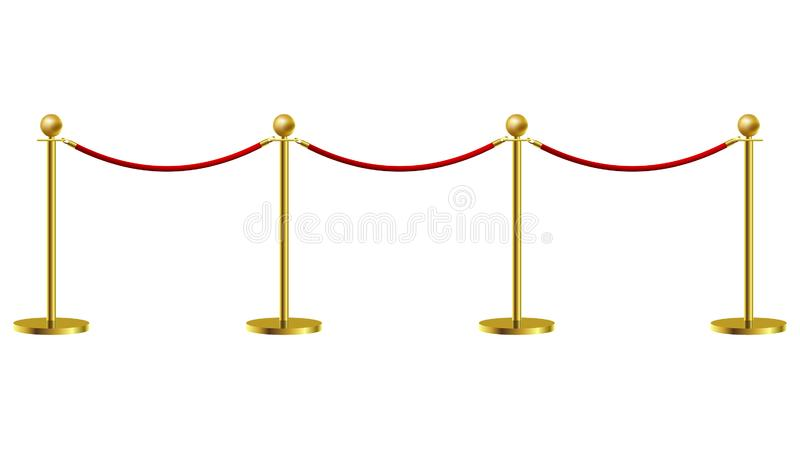 Gold Rope Barrier Constructor Concept Premiere Exposition and Protection Expensive Art. Vector illustration. On white background vector illustration