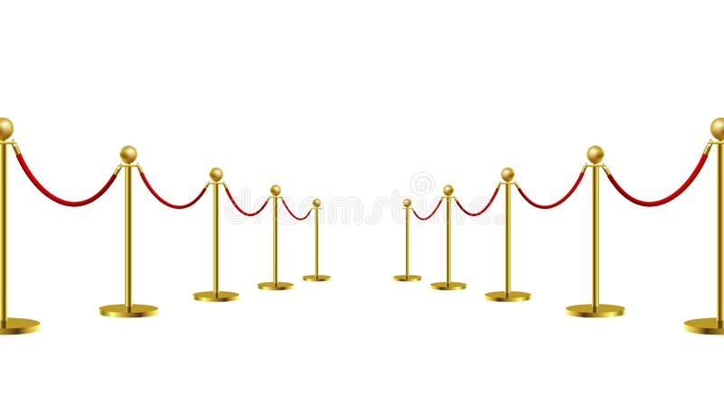 Gold Rope Barrier Constructor Concept Premiere Exposition and Protection Expensive Art. Vector illustration. On white background stock illustration