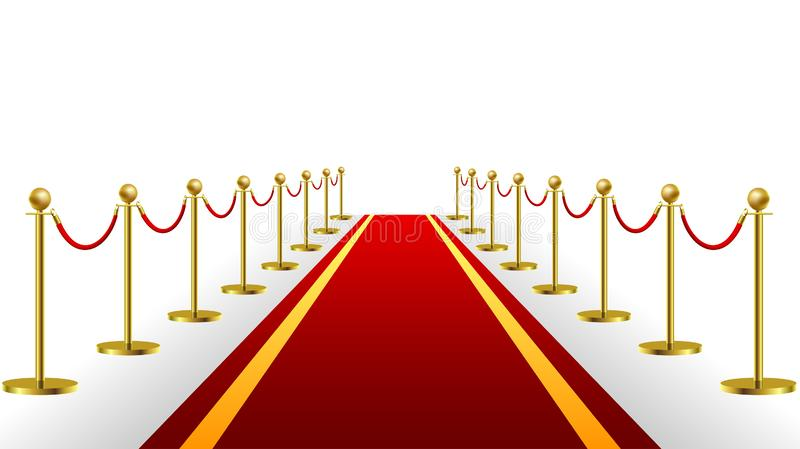 Gold Rope Barrier Constructor Concept Premiere Exposition and Protection Expensive Art. Vector illustration. On white background royalty free illustration
