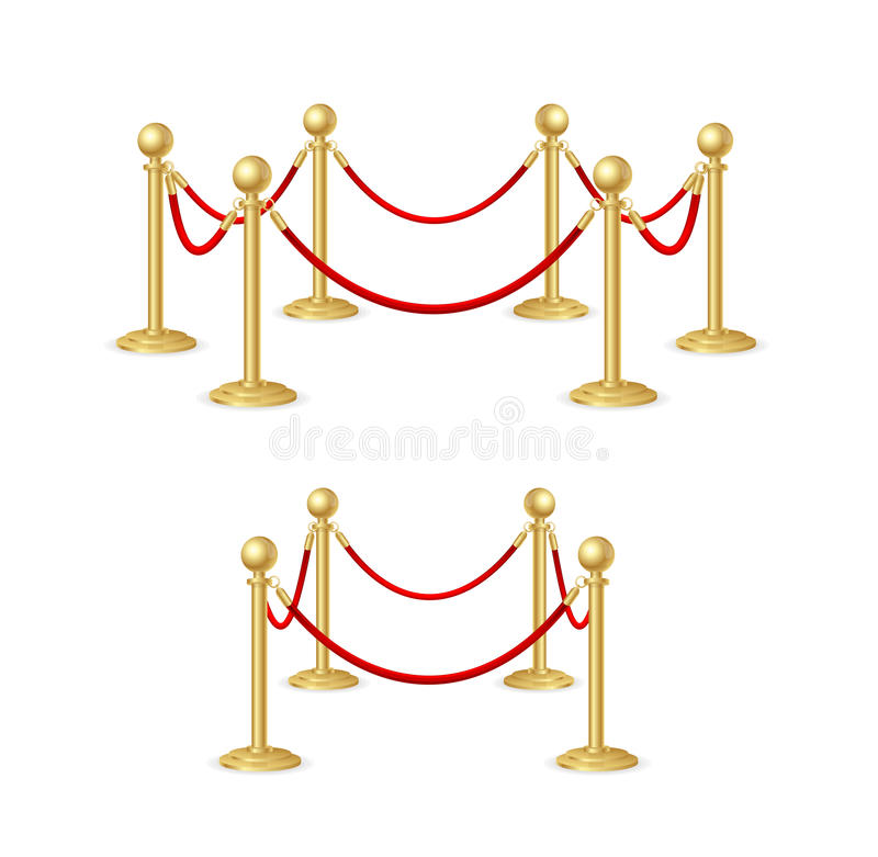 Gold Rope Barrier Constructor Set. Vector. Gold Rope Barrier Constructor Set Concept Premiere Exposition and Protection Expensive Art. Vector illustration royalty free illustration