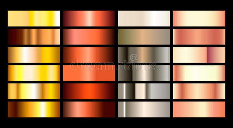 Gold rose, bronze, silver and gold foil texture gradation background set. Vector golden elegant, shiny and metalic vector illustration