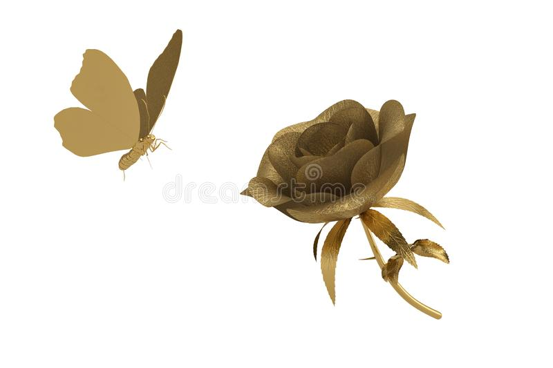 Gold rose and butterfly on white background. 3D illustration. vector illustration