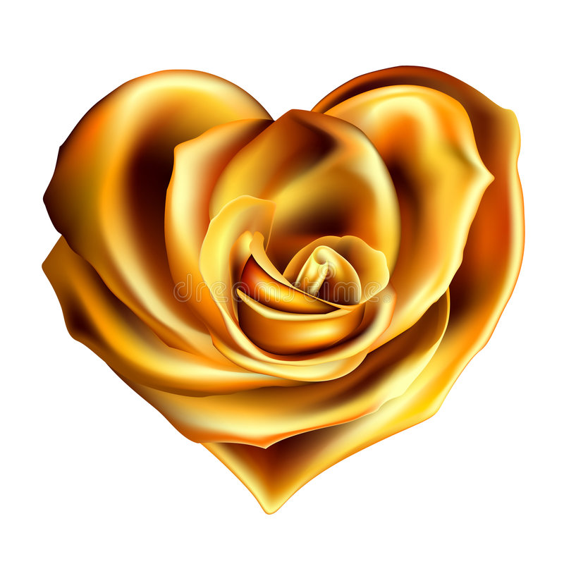 Gold_rose_heart 库存例证