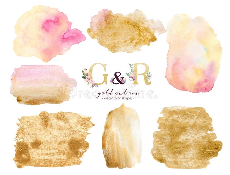 Gold and rose watercolor acrylic paint background shape. Abstract golden art brush ink paint on white. Decoration design royalty free illustration