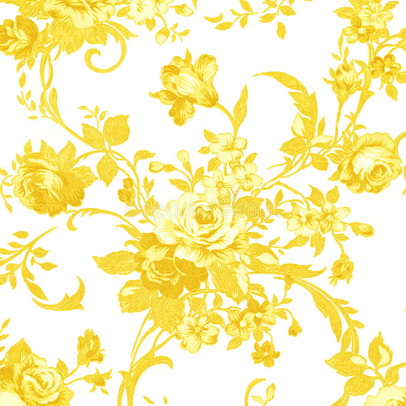 Gold Rose On White Fabric Background, Fragment Of Colorful Retro ...