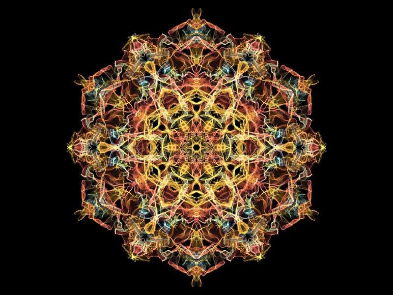 Gold-, Rote und Blaueabstrakte Flammenmandalablume, dekoratives rundes Muster auf schwarzem Hintergrund Yogathema lizenzfreie abbildung