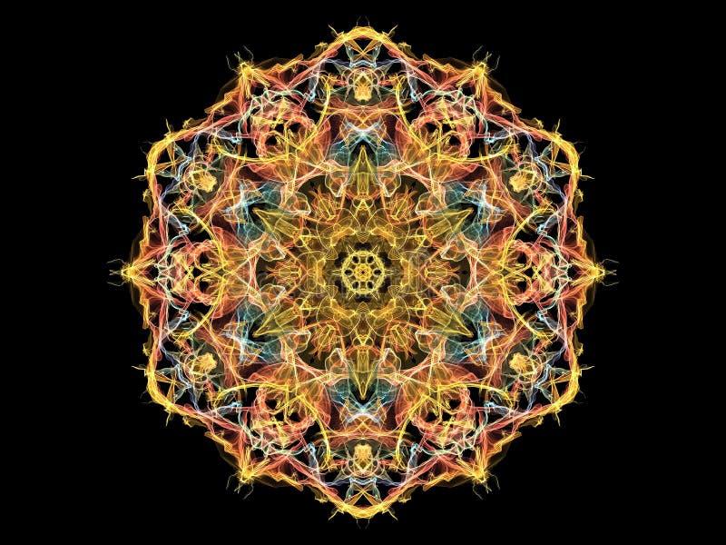 Gold-, Rote und Blaueabstrakte Flammenmandalablume, dekoratives sechseckiges Muster auf schwarzem Hintergrund Yogathema vektor abbildung