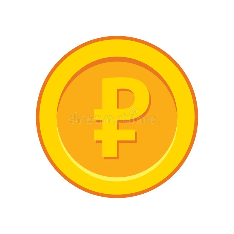 Gold rouble coin. Vector illustration of gold rouble coin on white background vector illustration