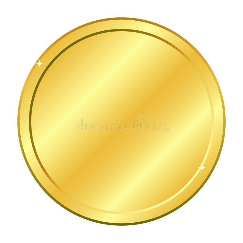 Gold round coin. Vector illustration isolated on white background stock illustration