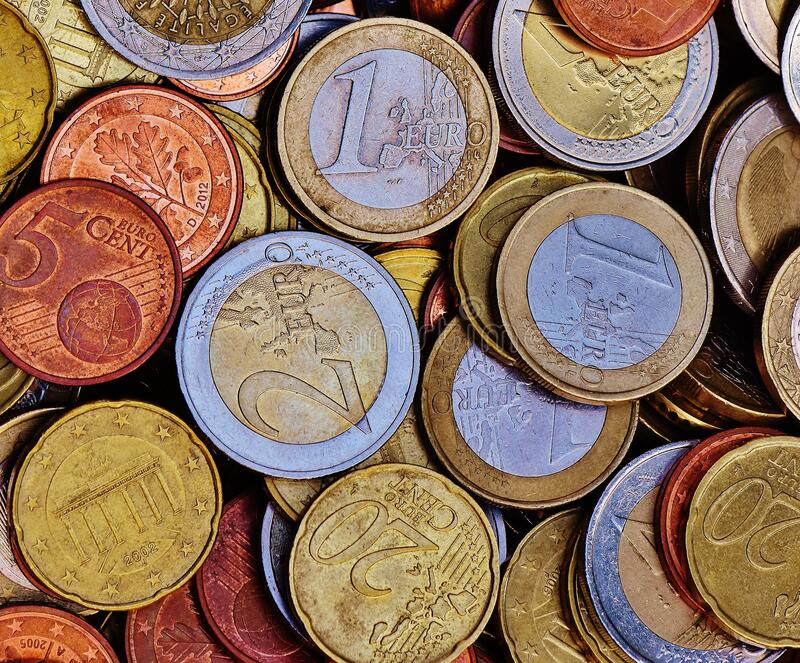 Gold 20 Round Coins royalty free stock photos