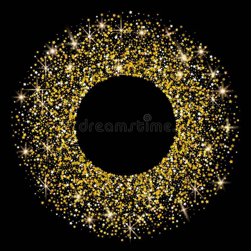 Gold Round frame of stars. Illustration of Falling stars on dark royalty free illustration