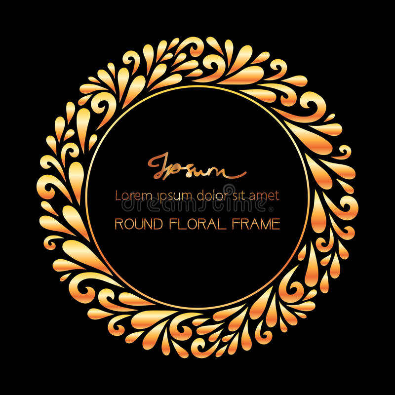 Gold round frame. Vector floral decoration made from swirl shapes. Greeting, invitation card. Simple decorative black and gold illustration for print, web stock illustration