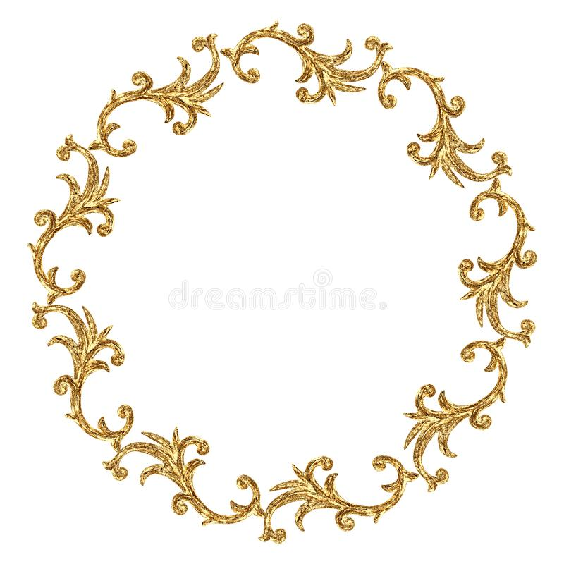 Gold round ornament baroque style element. Hand drawn vintage engraving floral scroll filigree frame royalty free illustration