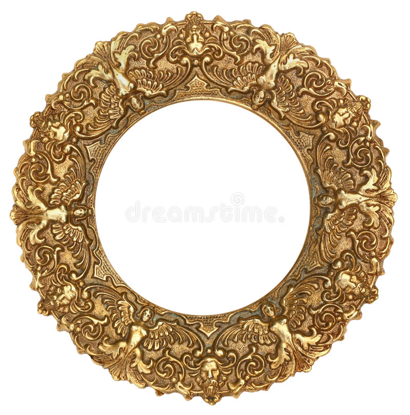 Gold Round Picture Frame. Isolated on White stock photos