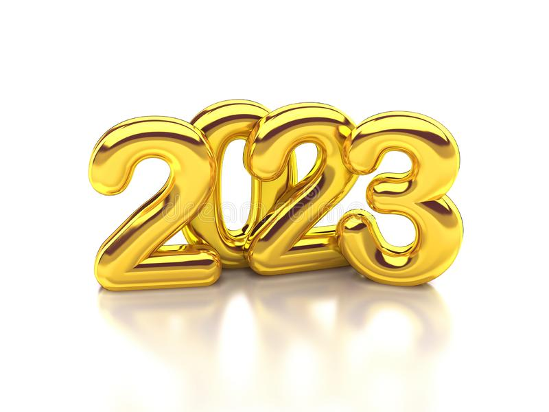 Gold rounded 2023 3d rendering stock illustration