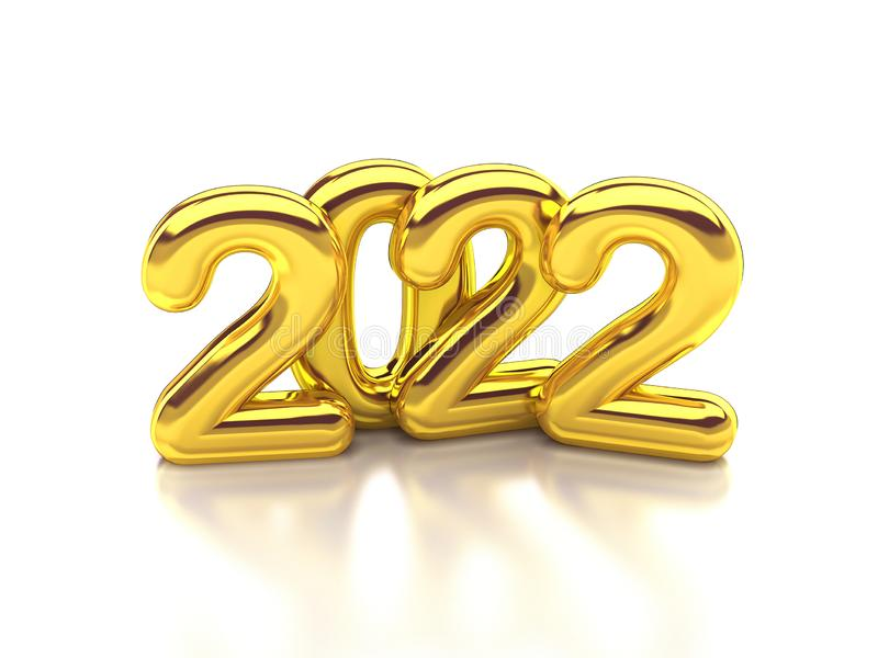 Gold rounded 2022 3d rendering royalty free illustration