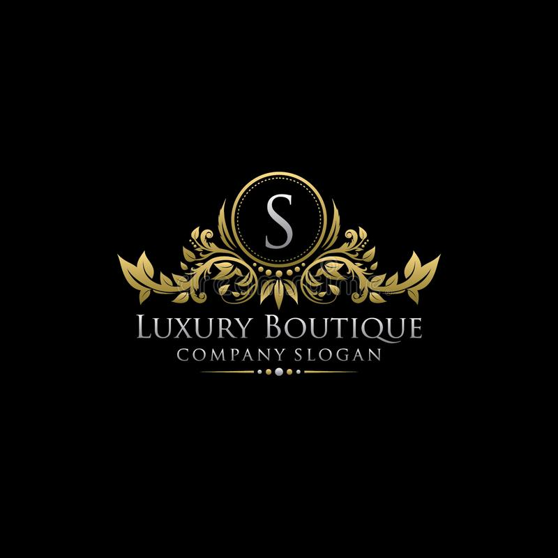 Gold Royal Luxury Boutique S Letter Logo. royalty free illustration