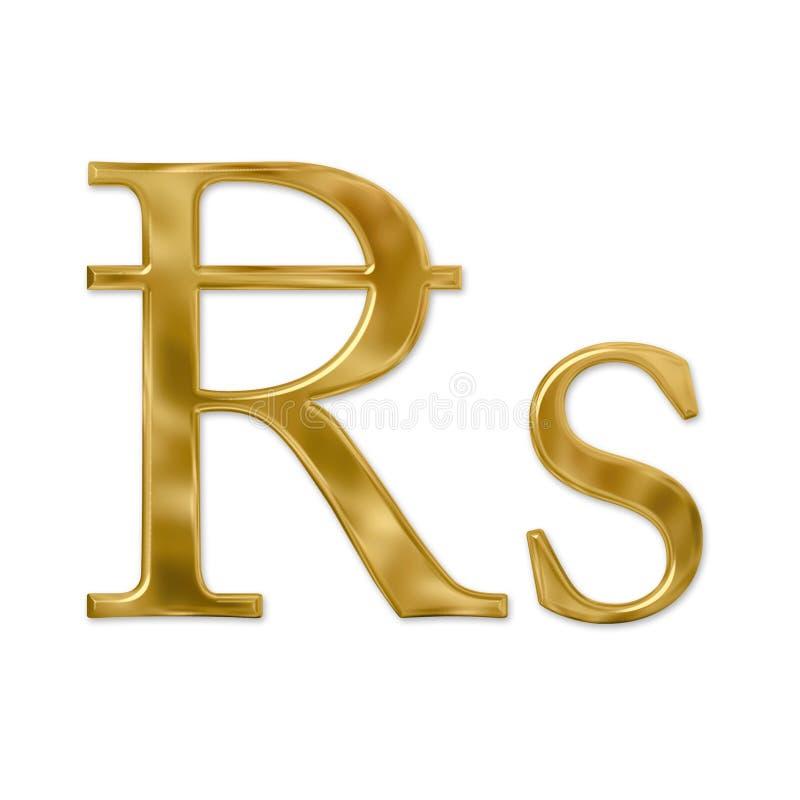 Gold Rupee Sign royalty free illustration
