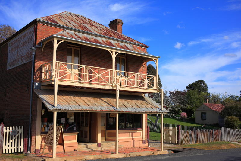 General Grocer Store historic building in Australia. The General Grocer & Produce Store in Hill End, a well-preserved building of the former gold-mining era, NSW stock photo