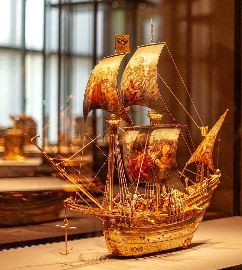 Gold sail boat at Vienna Fine Arts Museum royalty free stock images
