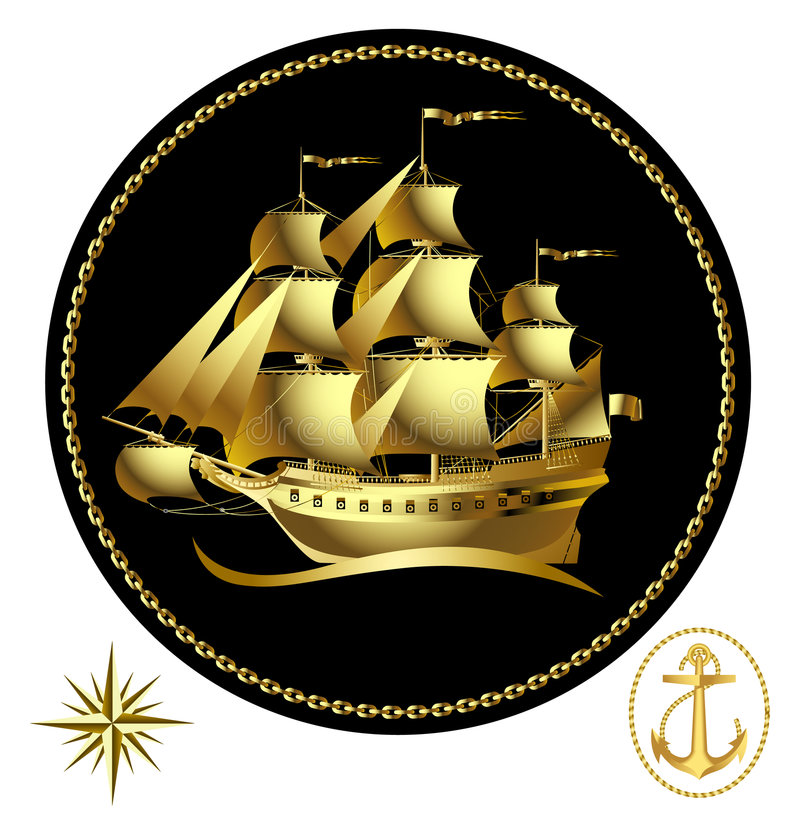 Gold sailing ship vector illustration