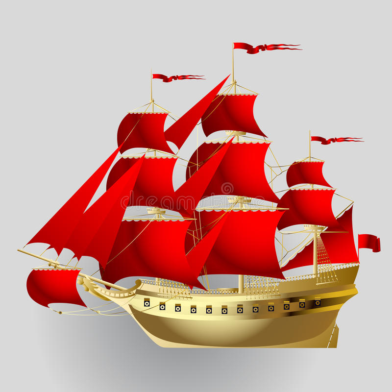 Gold sailing ship with red sails on gray background stock illustration